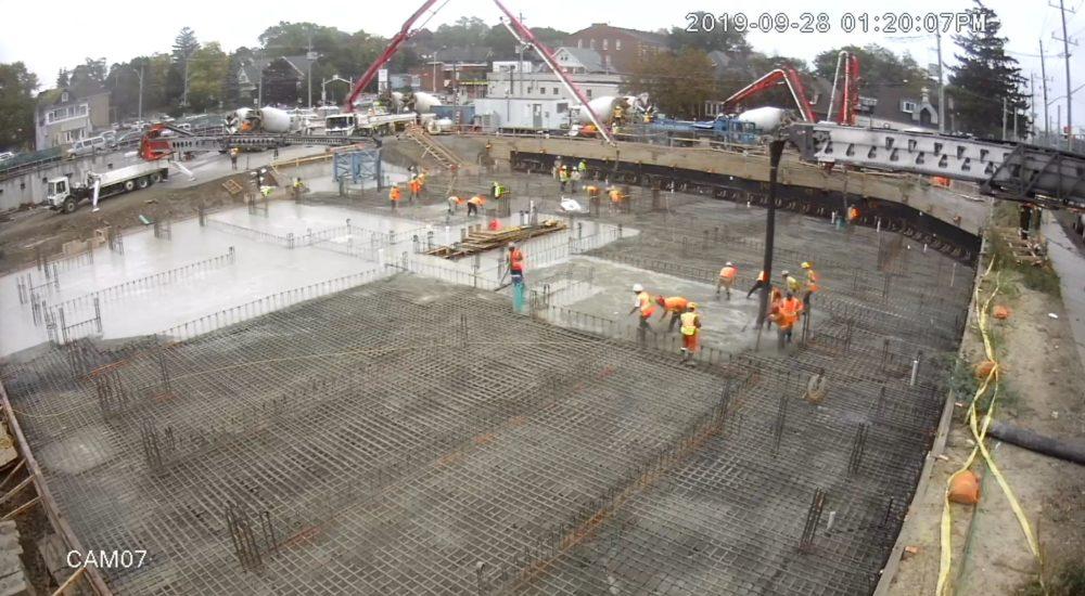 Raft slab concrete pour time-lapse